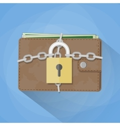 Wallet closed on the lock vector image