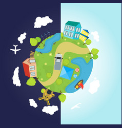 cartoon planet earth with houses ocean roads vector image