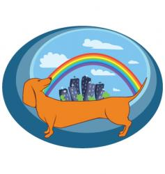 dog and town vector image