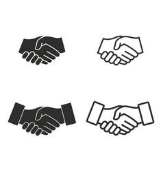 handshake icon set vector image vector image