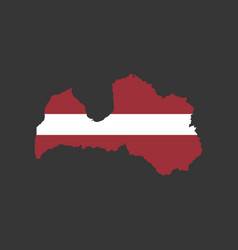 latvia flag and map vector image vector image