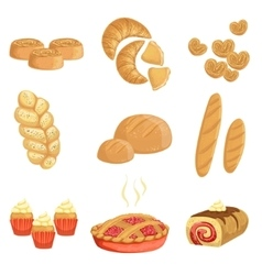 Pastry And Bread Bakery Assortment Set Of Isolated vector image