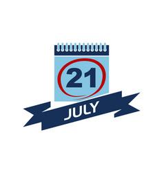 21 july calendar with ribbon vector image