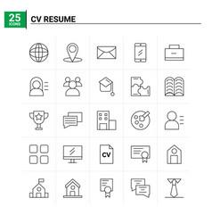 25 cv resume icon set background vector