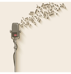 Background with retro microphone vector