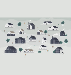 banner with different houses in scandic style or vector image