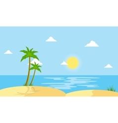 Beach scenery cartoon flat style vector