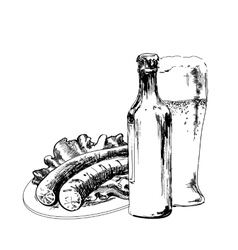 Beer with sausage vector