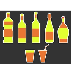 Bottle with stroke glass with drinking straw vector