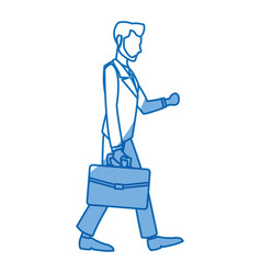 Business man walk holding portfolio design vector