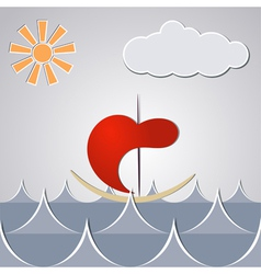 Cartoon drawing little ship through the waves vector image
