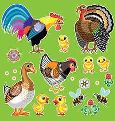 cartoon farm animals on green set two vector image