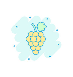 cartoon grape fruit with leaf icon in comic style vector image