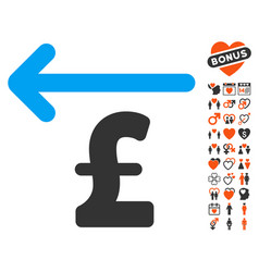 Cashback pound icon with valentine bonus vector