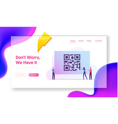 Cashless society website landing page woman hold vector