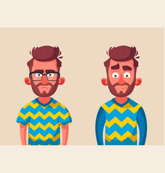 character in two variations emotions vector image