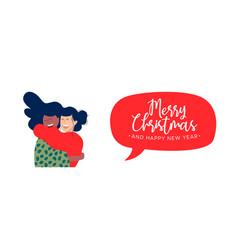 christmas and new year girl friends hug web banner vector image