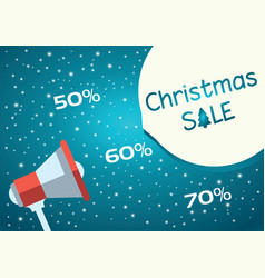 Christmas sale blue background with megaphone vector