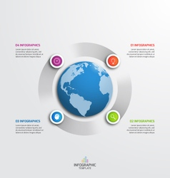 circle infographic template with globe 4 options vector image