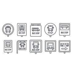 city bus stop sign icon set outline style vector image