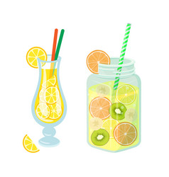 Cocktails and lemonade in jar detoxing drinks vector