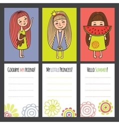 Colorful cards with funny girls vector image
