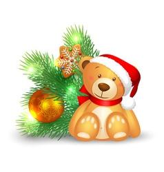 Cute teddy bear sitting vector image