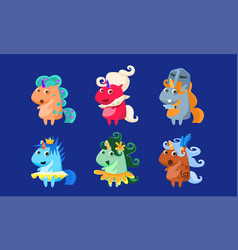 cute unicorns set fantastic animals characters in vector image