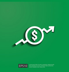 dollar increase icon money symbol with arrow vector image