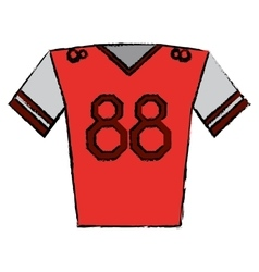 Drawing red jersey player american football vector