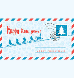 Envelope with santa claus and christmas tree vector
