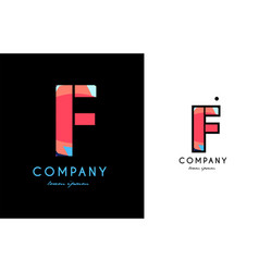 f blue red letter alphabet logo icon design vector image