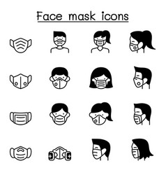face mask protection virus icons set graphic vector image