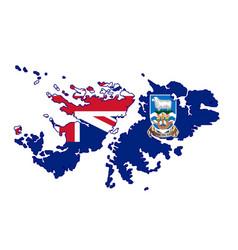 Falkland islands silhouette flag map vector