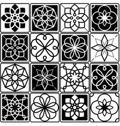 Finnish inspired seamless folk art pattern in blac vector