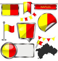 Flag naples italy vector