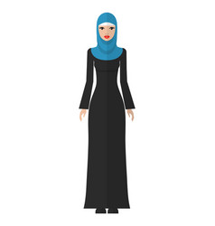 Flat a young muslim woman vector
