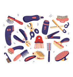 Flat grooming tools set dog and cat care vector