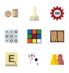 Flat icon games set ace xo cube and other vector