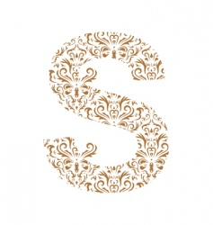 Floral letter s ornament font vector