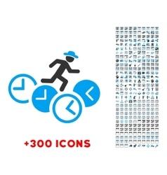 Gentleman Running Over Clocks Icon vector