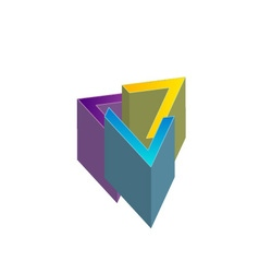 Geometric shape company logo design vector image