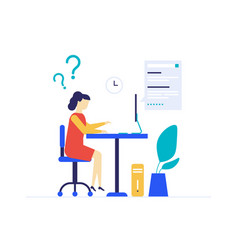 girl studying online - flat design style colorful vector image