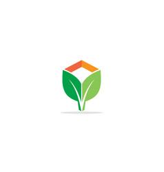 green leaf house logo vector image