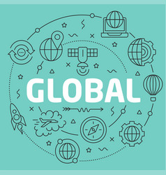 Green line flat circle global vector