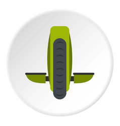 Green monowheel balance vehicle icon circle vector
