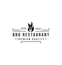 Grill barbeque with fork and fire logo design vector