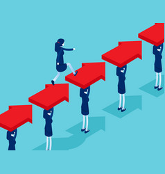 Group business people create a way for leader vector