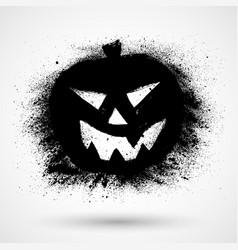 Grunge halloween pumpkin icon silhouette black vector