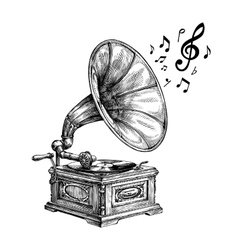 Hand-drawn vintage gramophone with music notes vector